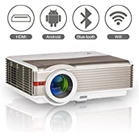 Bluetooth Wireless Projector for Home Cinema Theatre, EUG LED LCD HD Android Bluetooth Projector 4200 Lumens WXGA 1280x800 Resolution with WiFi HDMI USB VGA AV Audio Out for Videos Games TV DVD PS4