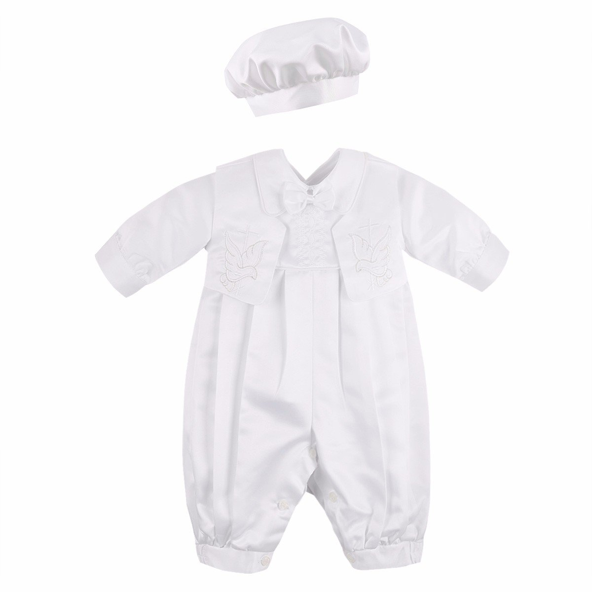 iEFiEL Baby Boy 3Pcs Baptism Christening Outfits Long Sleeve Romper with Vest and Bonnet Clothing Set