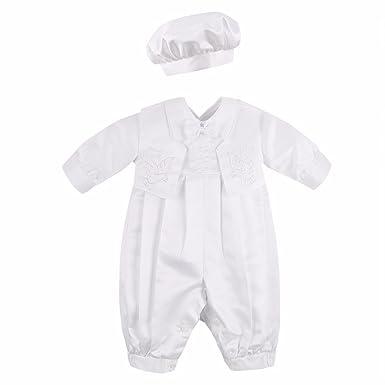 5cae3ae5049d TiaoBug Baby Boys Baptism Christening Outfit Long Sleeve Romper Bodysuit  with Vest and Bonnet Set Ivory  Amazon.co.uk  Clothing