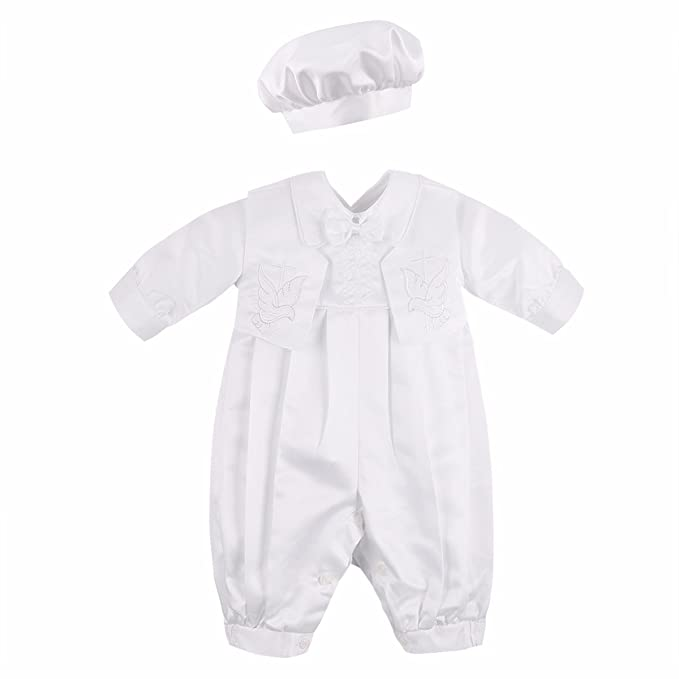 3bfc9ee52e863 YiZYiF Baby Boys Classic Baptism Christening Party Outfits Long Sleeve  Rompers with Vest and Hat Set