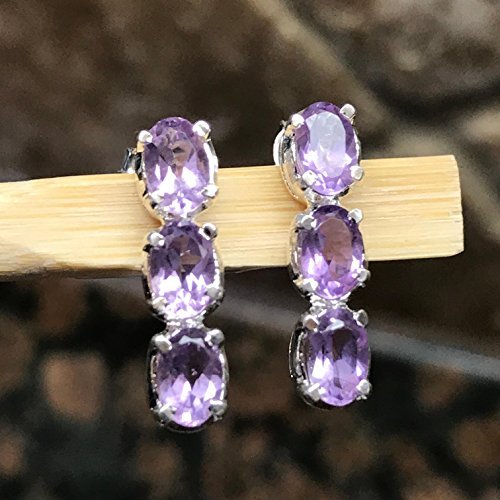Natural 2.5ct Rose de France Amethyst 925 Solid Sterling Silver 3-Stone Stud Earrings 16mm