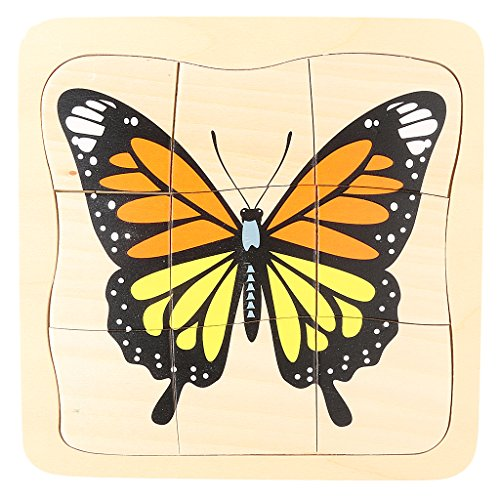 Fityle Kids Montessori Multi Layers Wooden Toy The Evolution of Butterfly Jigsaw Puzzles from Fityle