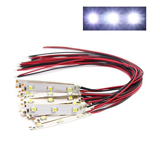 - DD01W 10pcs Pre Wired White Strip Led Light Self-Adhesive Flexible 3528 SMD LED12V ~ 18V