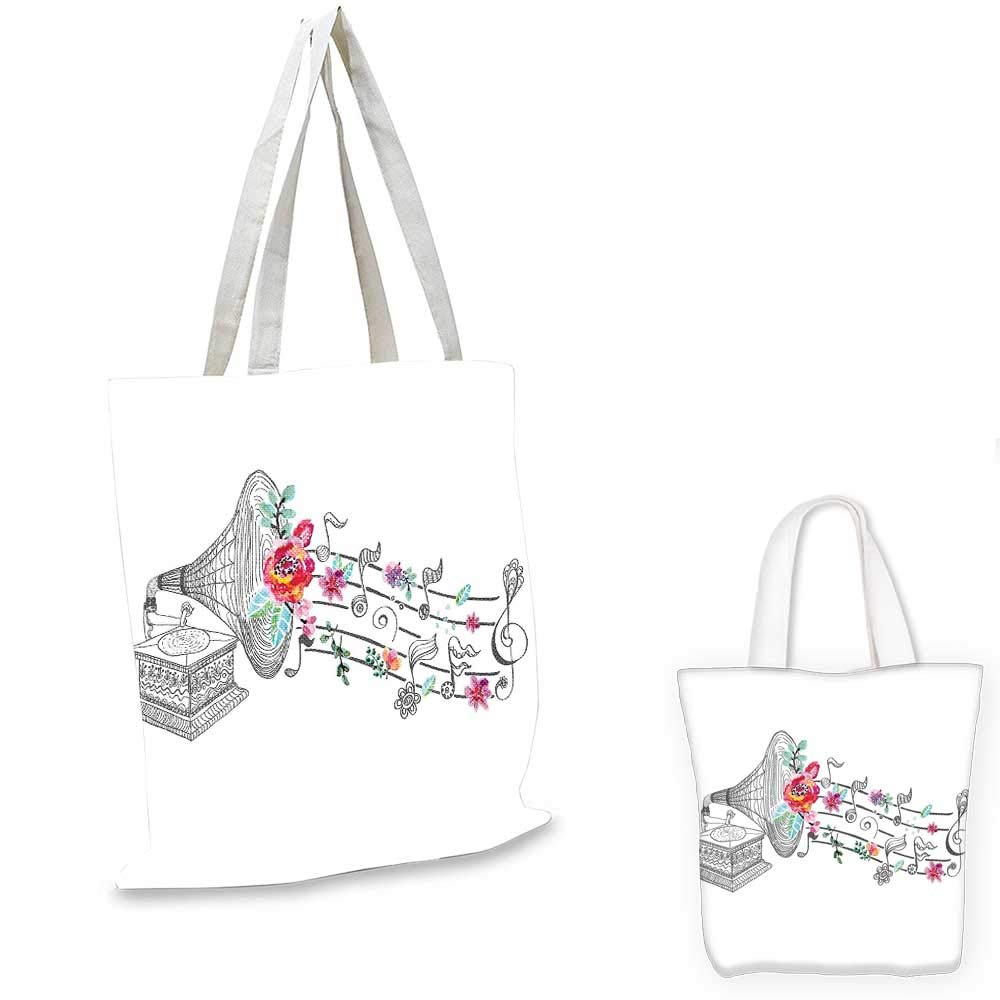 travel shopping bag 16x18-13 Music Decor canvas messenger bag Flying Dandelions with Note Music Summer Meadow Silhouette Softness Simple