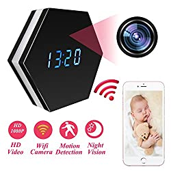 Mini Spy Camera Mirror Clock Wireless Hidden Wi-Fi Cameras HD 1080P Monitor Recorder Night Color Security Camera IR Night Vision Cam Motion Detector for Home Office Indoors