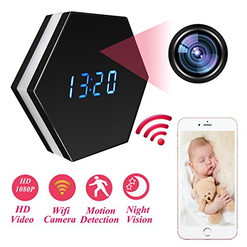 MINGYY Mini Spy Camera Mirror Clock Wireless Hidden Wi-Fi Cameras HD 1080P Monitor Recorder Night Color Security Camera IR Night Vision Cam Motion Detector for Home Office Indoors
