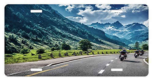 zaeshe3536658 Landscape License Plate, Freedom Rebel Life Motorcyclists on Road of Mountain Forest Scenery Image Artwork, High Gloss Aluminum Novelty Plate, 6 X 12 Inches. by zaeshe3536658