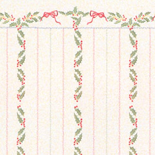 Melody Jane Dollhouse Miniature Print 1:12 Scale Christmas Holly Berries Stripe Wallpaper ()