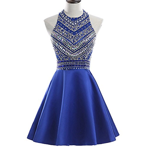 y Beaded Homecoming Dresses Sequined Prom Gowns Short H212 0 Royal Blue ()