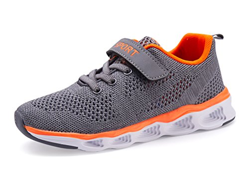 Casbeam Lightweight Comfortable Boys and Grils Running Shoes Grey 34