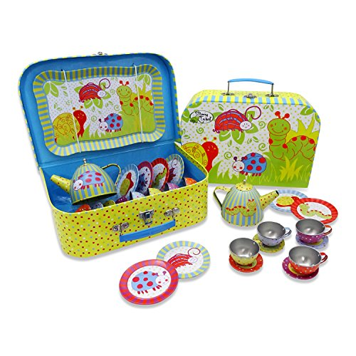 (Wiggly Bug Tin Tea Set & Carry Case Toy (14 Piece Kids Tea Set) Green, Blue, Yellow, Red - Slimy Toad)