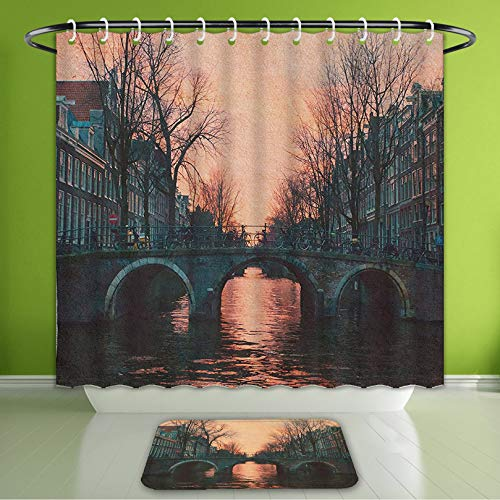 Waterproof Shower Curtain and Bath Rug Set Wanderlust Decor Evening in Amsterdam Netherlands Scandinavian Northern Lights River Bridge Cit Bath Curtain and Doormat Suit for Bathroom 60