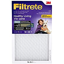 Filtrete MPR 1500 16 x 25 x 1 Healthy Living Ultra Allergen Reduction AC Furnace Air Filter, 2-Pack
