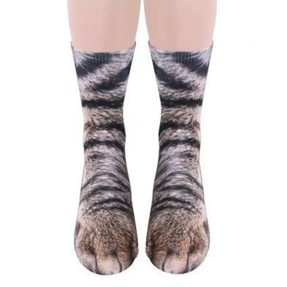 Un paio di calzini stampati a zampa animali adulti 3D unisex, cane cavallo zebra maiale gatto zampa stampa digitale novità calzini lunghi cane cavallo zebra maiale gatto zampa stampa digitale novità calzini lunghi SINOTECHQIN
