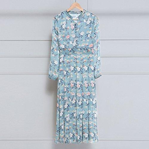 Collar Floral Marca Falda Chiffon RONG blue Otoño Vestido Manga De Slim Larga Slim XIU V 8wROqO