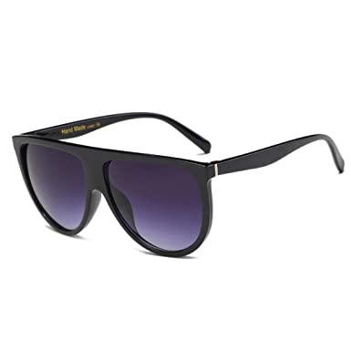 b40fec90e70 Black Flat Top Shadow Sunglasses with small Temple  Amazon.co.uk  Clothing