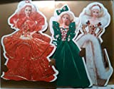 Hallmark Embossed Cards-set of 3-holiday Barbie-