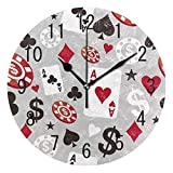 NMCEO Round Wall Clock Poker Casino Card Acrylic Silent Non-Ticking for Home Decor Creative