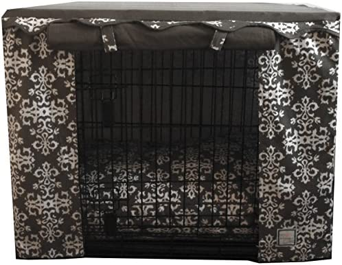 BowhausNYC CC15G-L Elegancia Crate CoverWider Side Door is Slightly to The Left, Dark Gray White, Large 36 L x 24 W x 27 H
