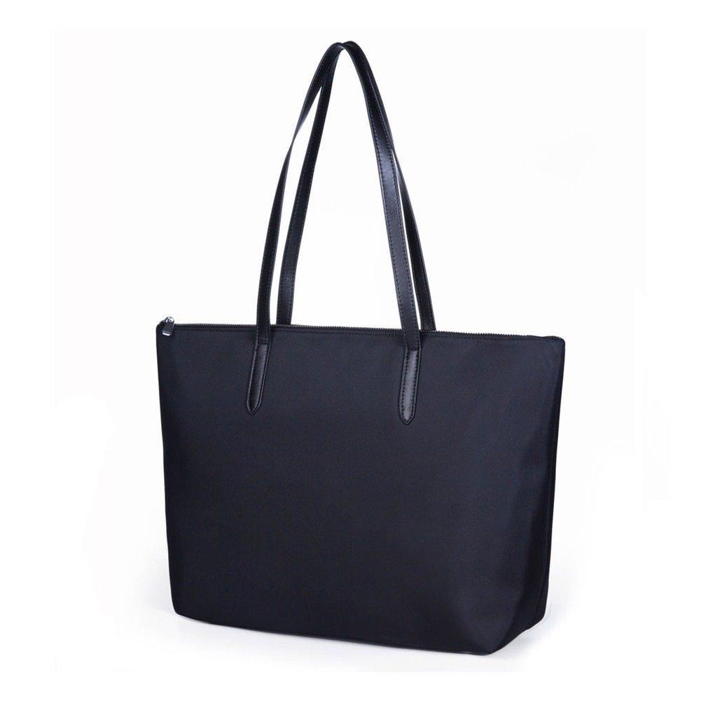 Lecxci Women's Oxford Nylon Waterproof Tote Bag Large Capacity Satchel Shoulder Travel Bags (L, Black)