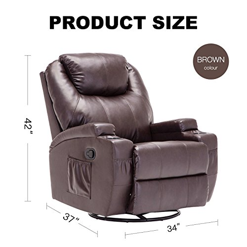 Murtisol Massage Recliner Lounge with Heat and Massage Vibrating Sofa Chair with Quality PU Leather (Brown) by Murtisol (Image #4)