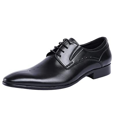 Men's Leather Pointed Lace Low Top Manual Oxford Shoes Business Black