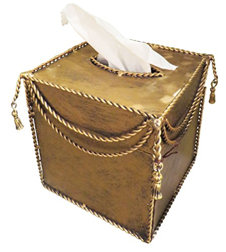 Gold Iron Tissue Box Holder Ornate | Romantic Old World Tassel - Antique Italian Tole
