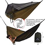 Double Hammock - Everest | Bug & Mosquito Free Camping and Outdoors Hammock Tent Built-in Reversible Net YKK Zipper Ripstop Nylon Ultralight Carabiners & Tree Saver Straps Khaki / Woodland / Net Black