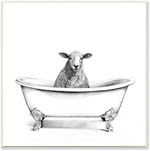 Stupell Industries Wooly Sheep in Bath Tub Farm Animal Bathroom, Designed by Victoria Borges Art, 12 x 12, Wall Plaque
