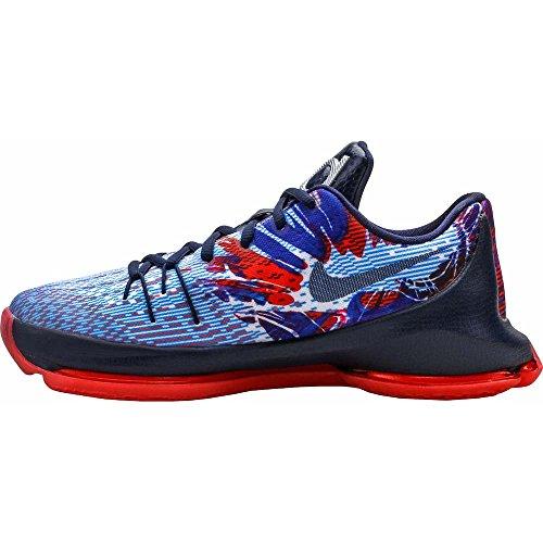 Nike KD 8 Youth Basketball Shoe Soar Mid- Navy/ Bright Crimson/ White