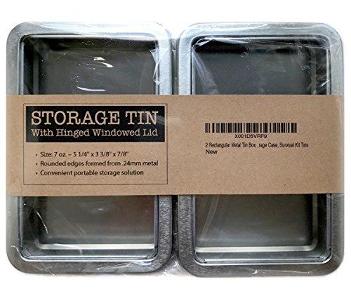 2 Rectangular Metal Tin Box - Plain Silver Hinged Blank Storage Case, Survival Kit Tins