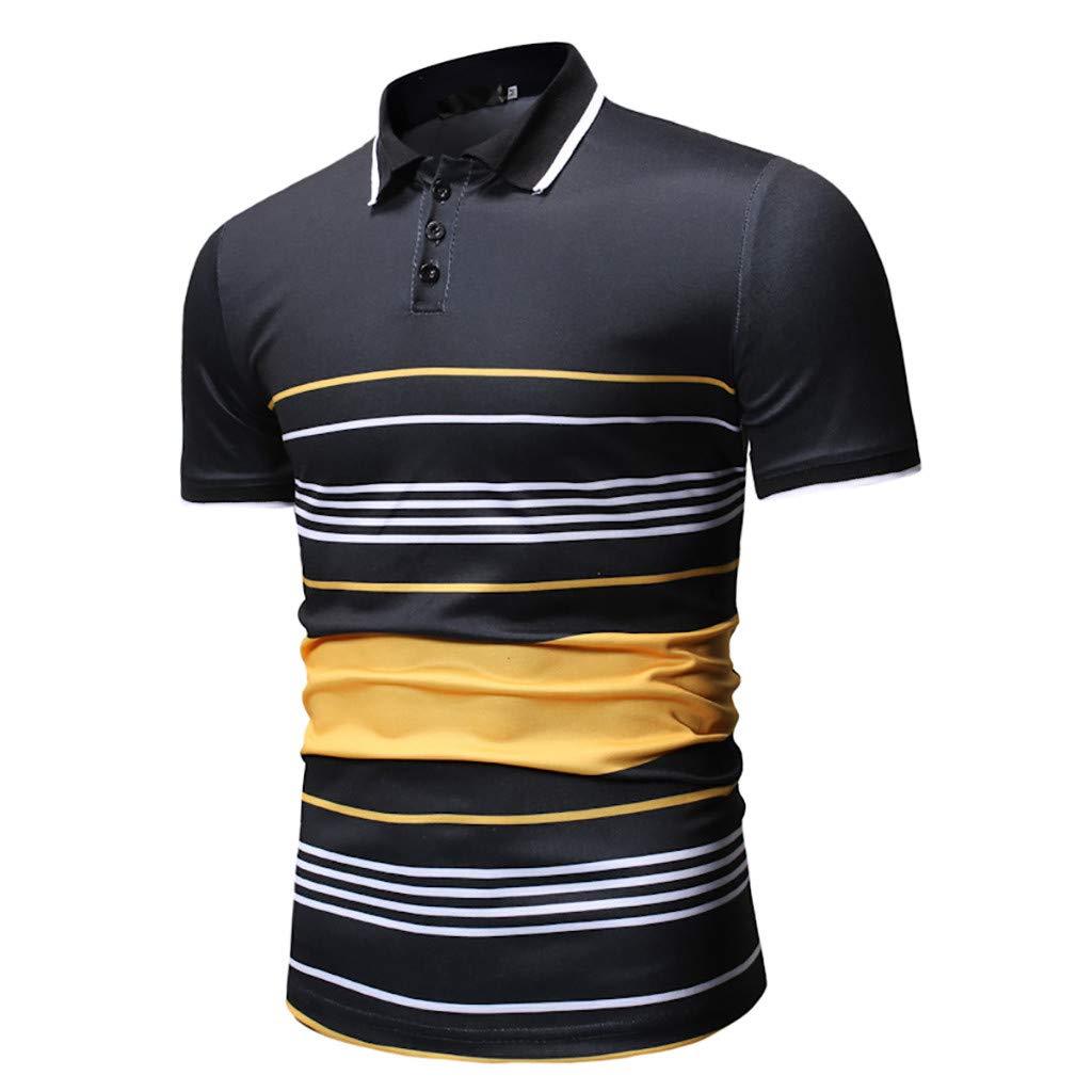 Topgee Summer Men Short Sleeve T-Shirt Stripe Patchwork Classic Buttons Shirts