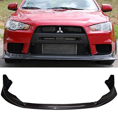 Front Bumper Lip Fits 2008-2015 Mitsubishi Lancer EVO X 10 | 4Dr VR Style Front Lip Protector Splitter Carbon Fiber CF by IKON MOTORSPORTS | 2009 2010 2011 2012 2013 2014