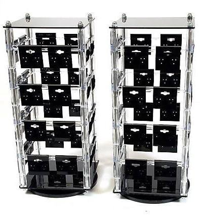 (Two New Clear Rotating Earring Display Stands with 64 2 Inch x 2 Inch Black Cards )