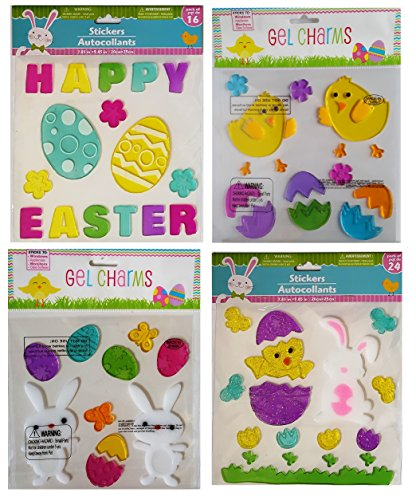 Happy Easter Chick (Easter Decorations - Window Gel Clings Bundle 4 Sheets - 65 Pieces Including Bunnies, Baby Chicks, Easter Eggs,