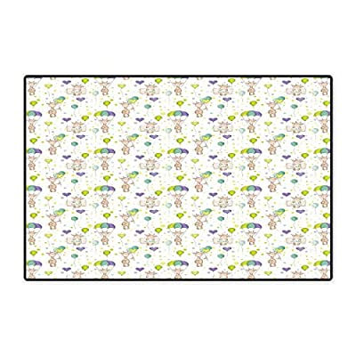"""Baby Door Mat Small Rug Infant Giraffes Flying with Balloons with Polka Dotted Background Newborn Love Hearts Bath Mat for Bathroom Mat 16""""x24"""" Multicolor"""