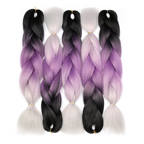 (Jumbo Braiding Hair (Black/Purple/Silver Grey) 5pcs Jumbo Braid Hair Extension Ombre Colors For Box Braids Senegal Twist Braids 24 Inch Soft Kanekalon)
