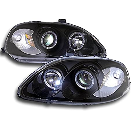 ZMAUTOPARTS Honda Civic Halo Projector Headlight JDM Black CX DX EX GX Hx  LX Si Set