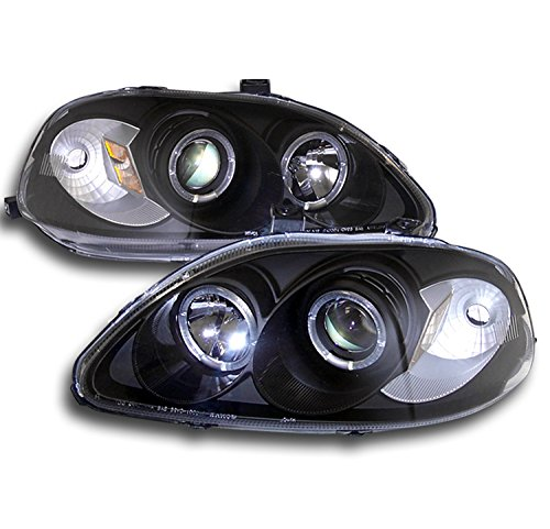 Jdm Projector Headlights - ZMAUTOPARTS Honda Civic Halo Projector Headlight JDM Black CX DX EX GX Hx LX Si Set