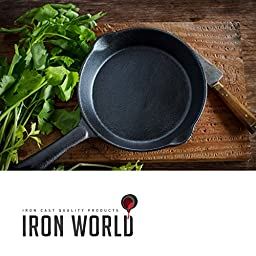Iron World 12-Inch Hand Made Cast Iron Skillet with Silicone Handle, Chef Glove and BBQ Recipes eBook, Black