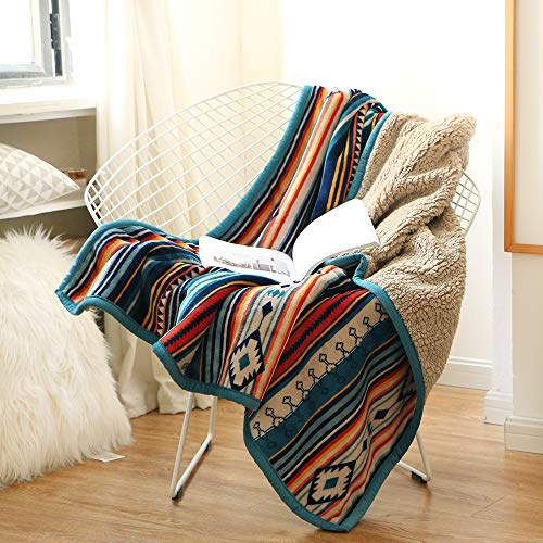 Lamberia Sherpa Flannel Fleece Reversible Throw Blanket – Extra Soft Plush Fabric – Super Warm Lightweight Bed Couch Blankets (Rainbow, 50