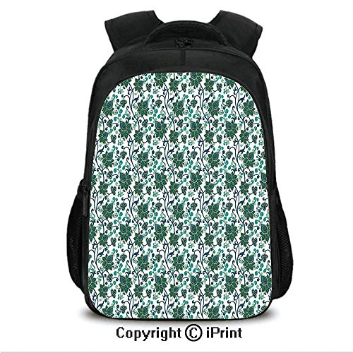 "16"" Travel Backpack Bookbags,Oriental Floral Ornament Leaves Stalks Abstract Oriental Middle Eastern CollegeTravel Computer Notebooks Backpack for Teen Men Women Petrol Blue Sea Green"