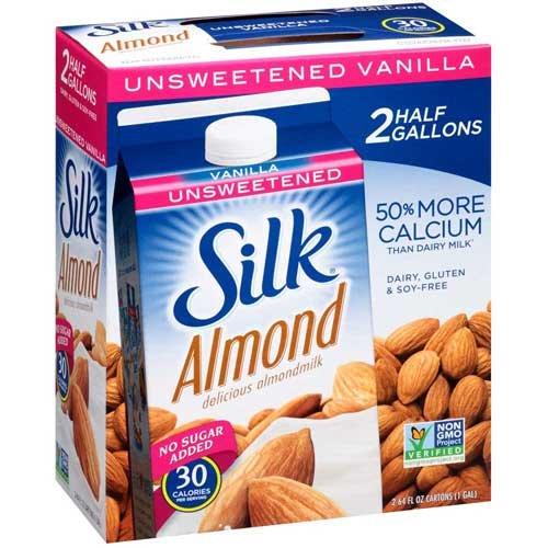 1/2 Gallon Milk - Silk Unsweetened Vanilla Almond Milk, 0.5 Gallon - 8 per case.