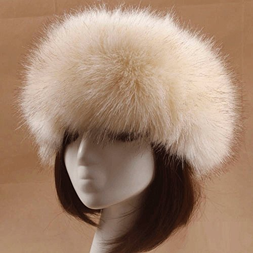 MONOMONO-Winter Fox Fur Hat Fur Cap Men/Women Hat Fur Top Headdress (ivory) (Coyote Fur Headband)