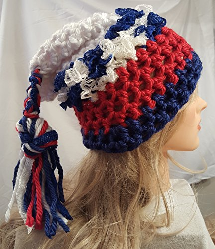 Crochet Patriots hat. Made by Bead Gs. Ladies Size. 5e031cf3f0b