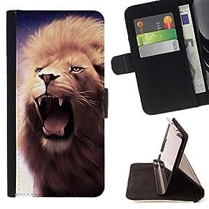 Momo Phone Case / Flip Funda de Cuero Case Cover - Rugido del león Colmillos Dientes Mane púrpura Bostezo - HTC DESIRE 816