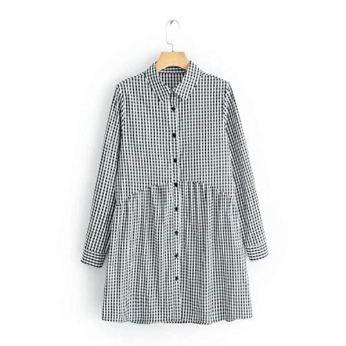 2020 Vestido de mujer estilo vintage con estampado de cuadros escoceses casuales y delgados, plisados, vestidos de negocios elegantes DS1962 - - Small