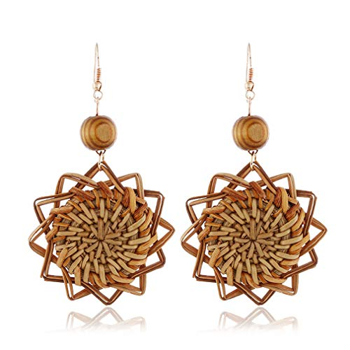 MOONQING Wood Flower Rattan Earrings Handmade Drop Earrings Charm Ball Hook Earring for Women Jewelry ()