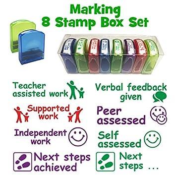 School Stamps Subject Marking 8 Teacher Stamp Box Set