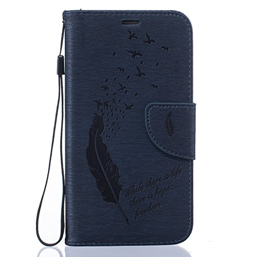 Para Samsung Galaxy S5 (5,1 pulgadas) Cáscara ZeWoo® Carcasa y Funda de PU Piel - BF061 / life hope freedom (negro) BF063